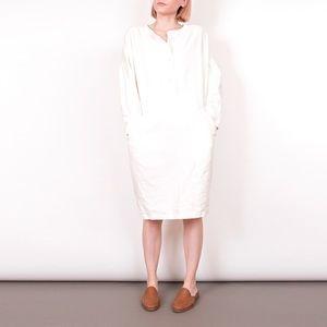 Vintage 80s white cotton batwing market dress